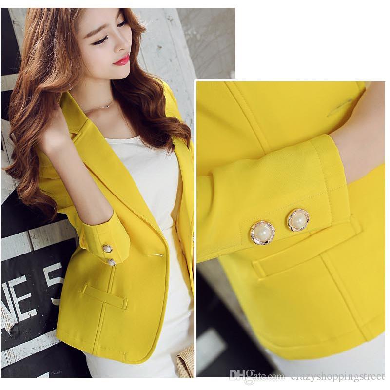 Verde / Amarelo Único Botão Senhoras Blazers Mulheres Primavera Outono Mulheres Jaqueta Terno Blazer Femme Escritório Tops Casacos