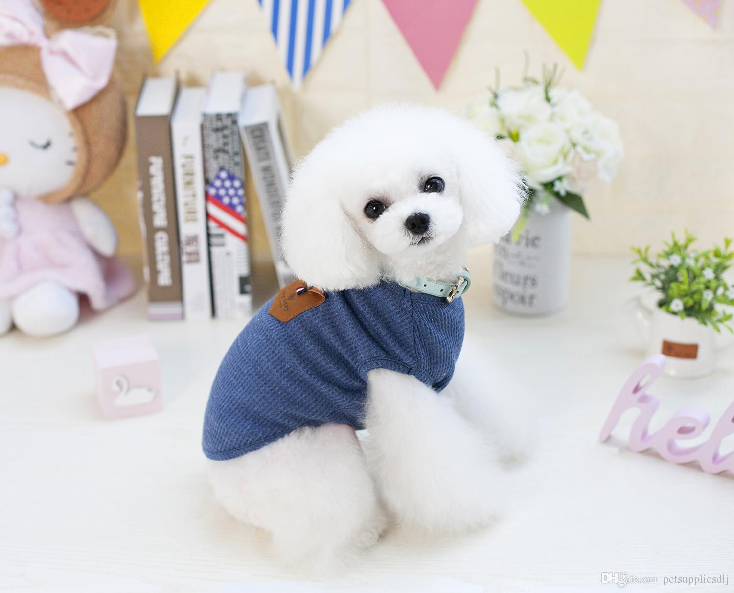 E29 New Spring Summer Korea Style Pet Dog Vest Coat Clothes Fashion Puppy Dog Cats T shirt Costume Apparel From S to XXL