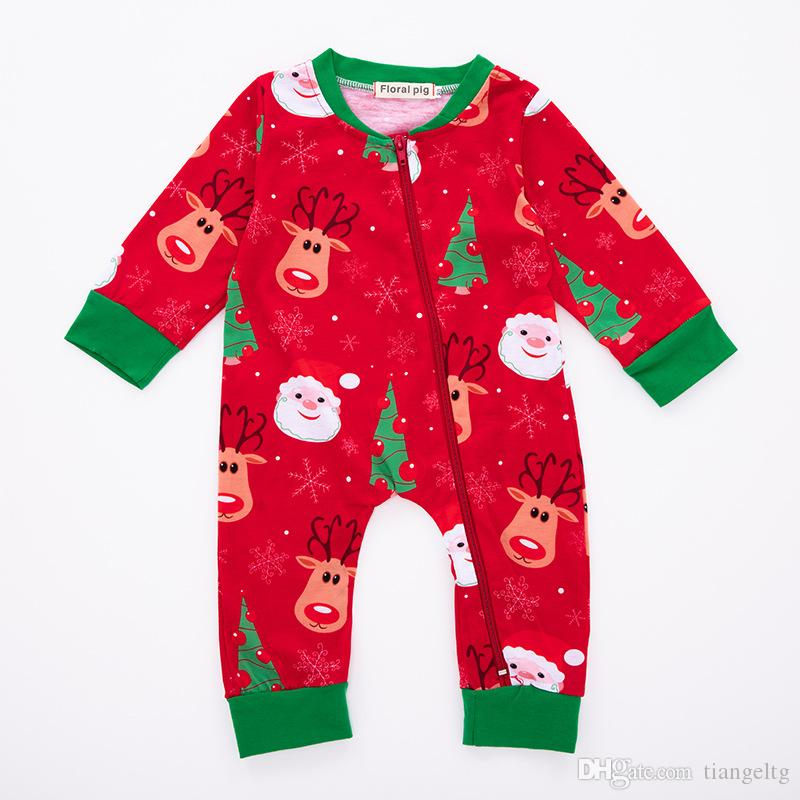 Baby Christmas Elk Jumpsuit Santa Claus Portrait Deer Christmas Tree Snowflake Zipper Newborn Baby Boy Girl Designer Clothes Winter Rompers