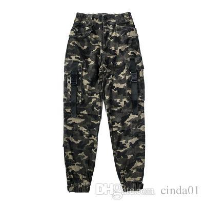 Calças High Street Carga camuflagem Big bolso Casual Men Jogger Pants Marca Designer roupa parte inferior