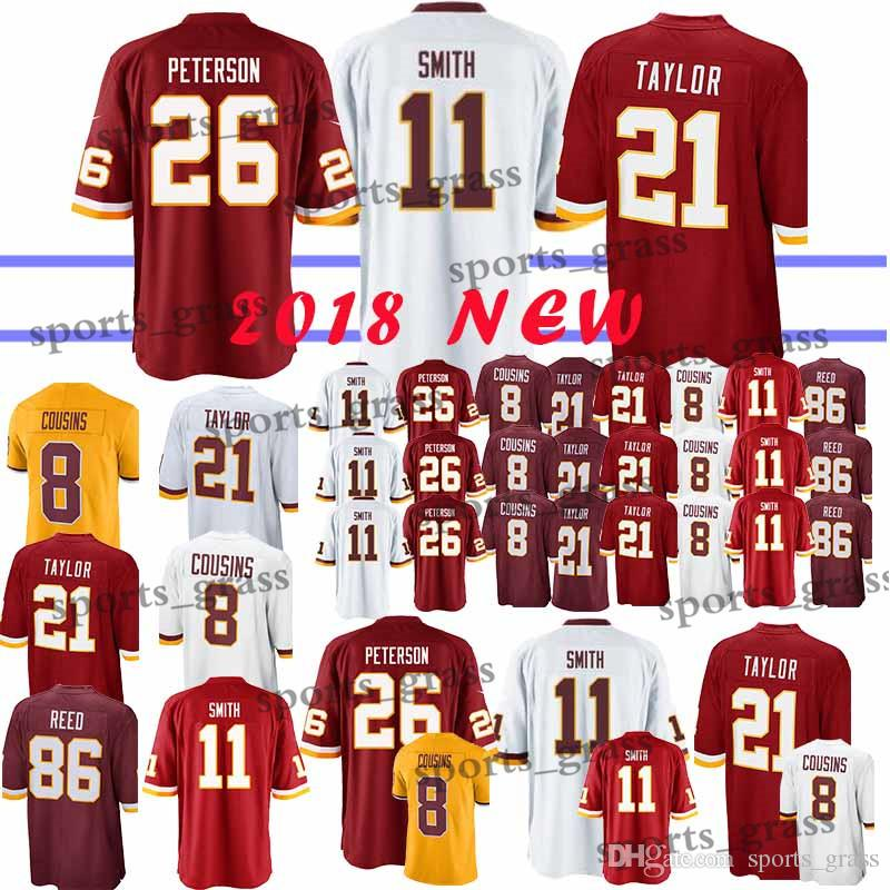 reputable site d7d59 4fda0 11 Alex Smith Washington jerseys 26 Adrian Peterson Redskins 91 Ryan  Kerrigan 21 Sean Taylor 8 Kirk Cousins 29 Guice 86 Reed jersey 2018
