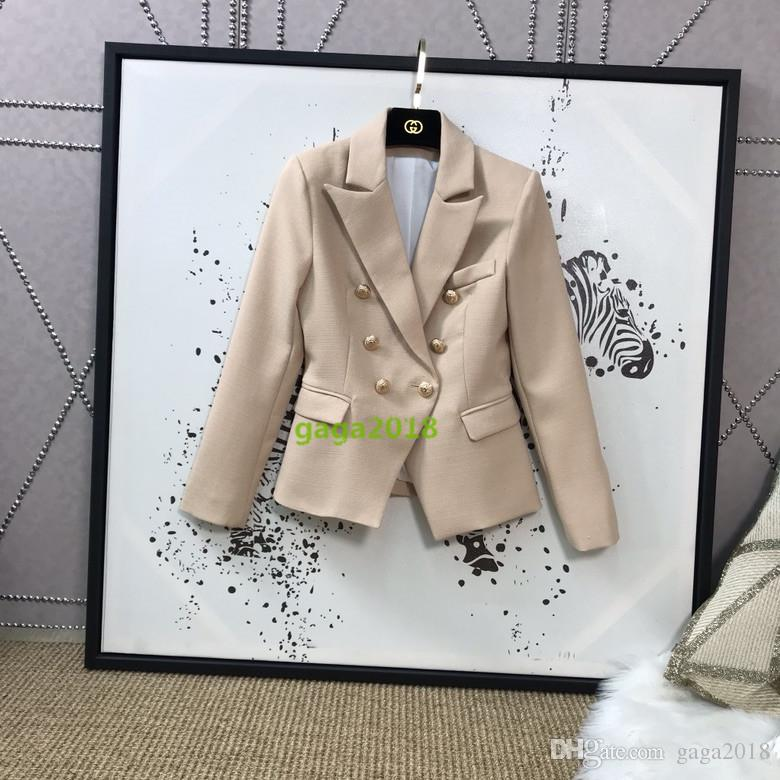 941e3b9988 New Early Autumn British Style Solid Color Double Breasted Slim Fit Metal  Buckle Temperament Blazer Slim Suit Jacket For Office Lady And Par Leather  Jackets ...