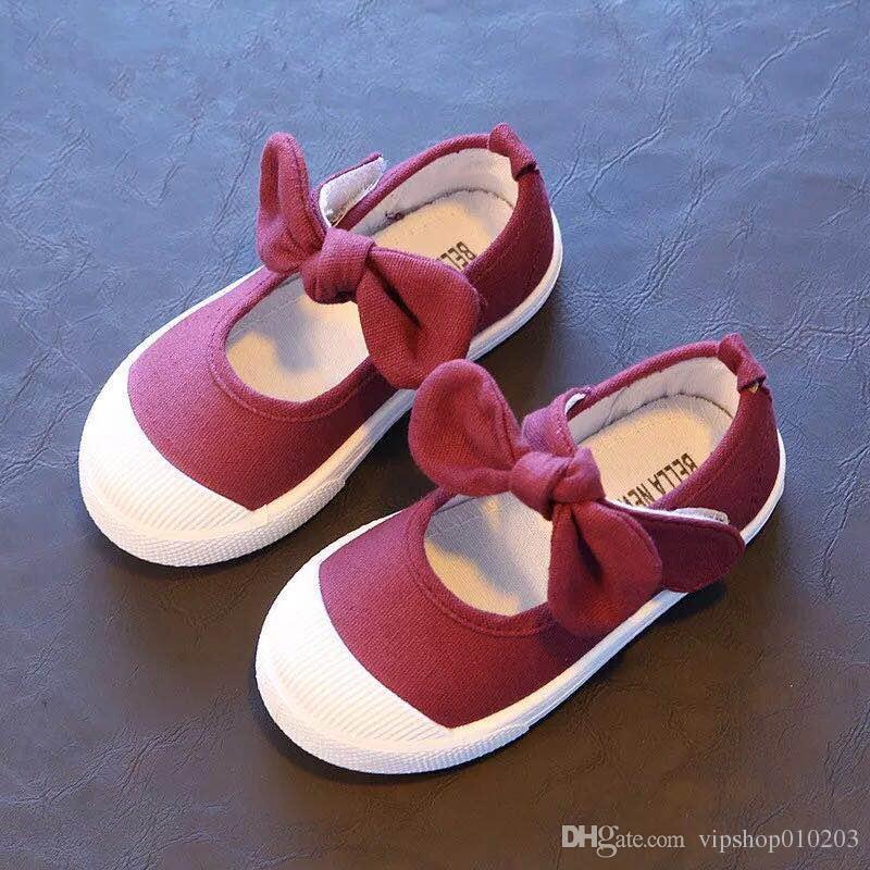VIPSHOP Ile Bebek Kız Ayakkabı Tuval Rahat Çocuk Ayakkabı Papyon Yay-düğüm Tatlı Şeker Renk Kız Sneakers Çocuk Yumuşak Ayakkabı 21-30
