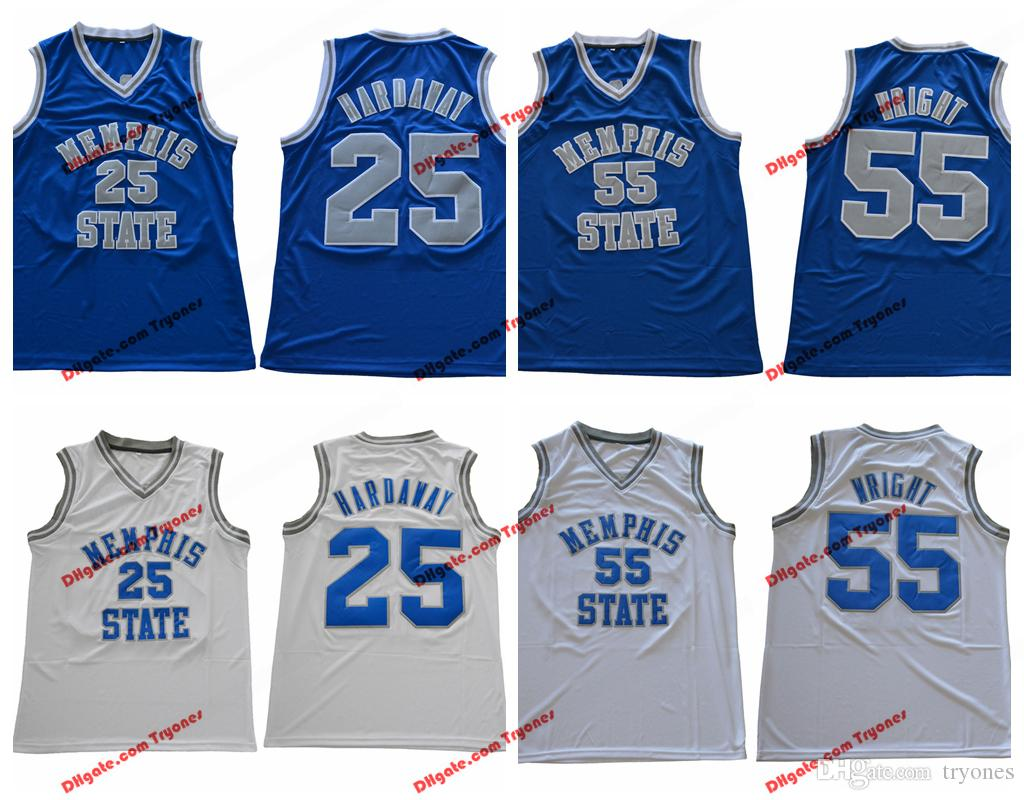 379061564a0 2019 Mens Memphis Tigers College Basketball Jerseys Cheap 25 Penny Hardaway  55 Lorenzen Wright Blue White Stitched Basketball Jersey S XXL From  Tryones