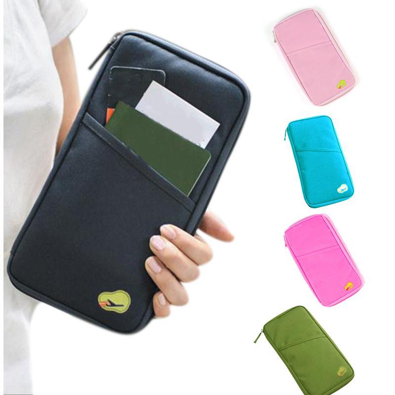 431d49e78288 Multifunctional Handbag Travel Passport Credit ID Card Cash Wallet Purse  Holder Document Bag Zipper Makeup Organizer BS8