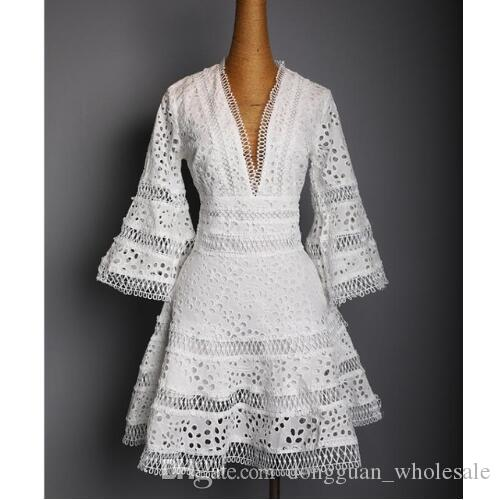US 2018 Women Summer fashion Designer Runway V neck Lace Embroidery Casual party Mini Dress Female vestido
