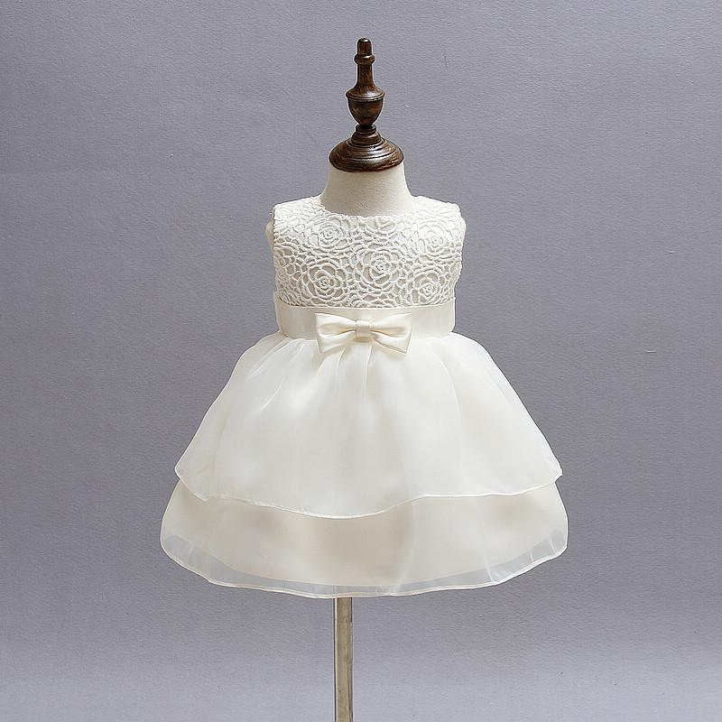 0a94c8ec1d53a Newborn Baby Girl Dress Christening Gown White Flowers First 1st Birthday  Party Infant Clothing Tutu Tulle Toddler Girls Clothes