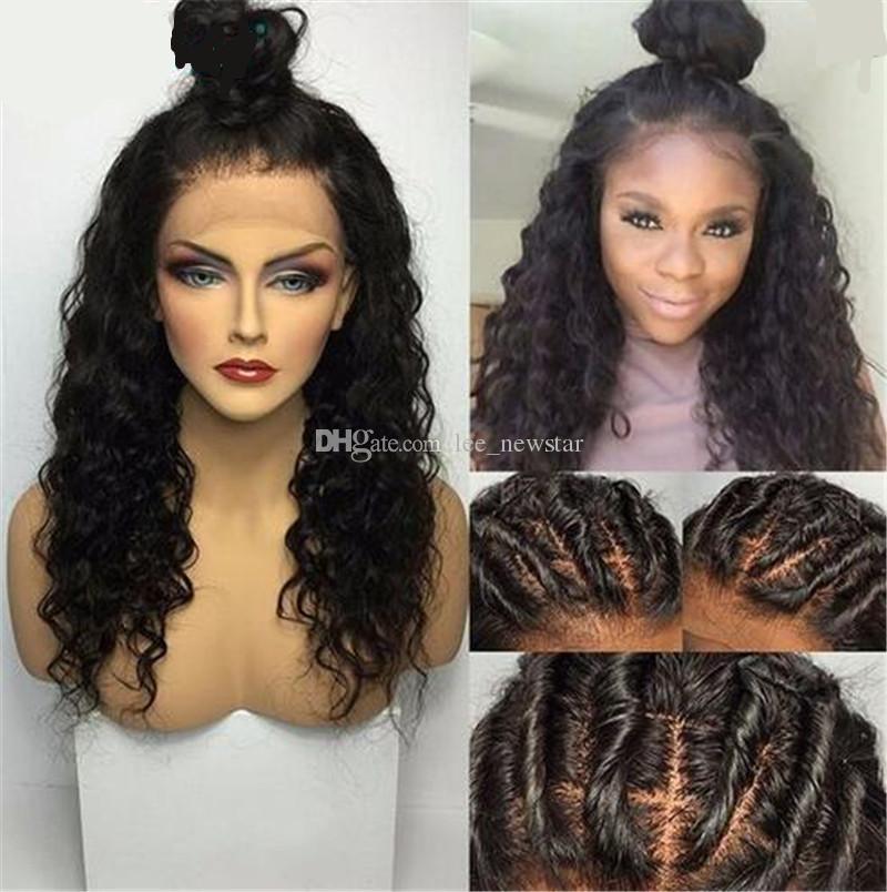 Las pelucas delanteras del cordón de la onda de agua para las mujeres negras pelucas del cabello humano con el pelo del bebé pre desplumaron el pelo remy brasileño de la densidad del 180%