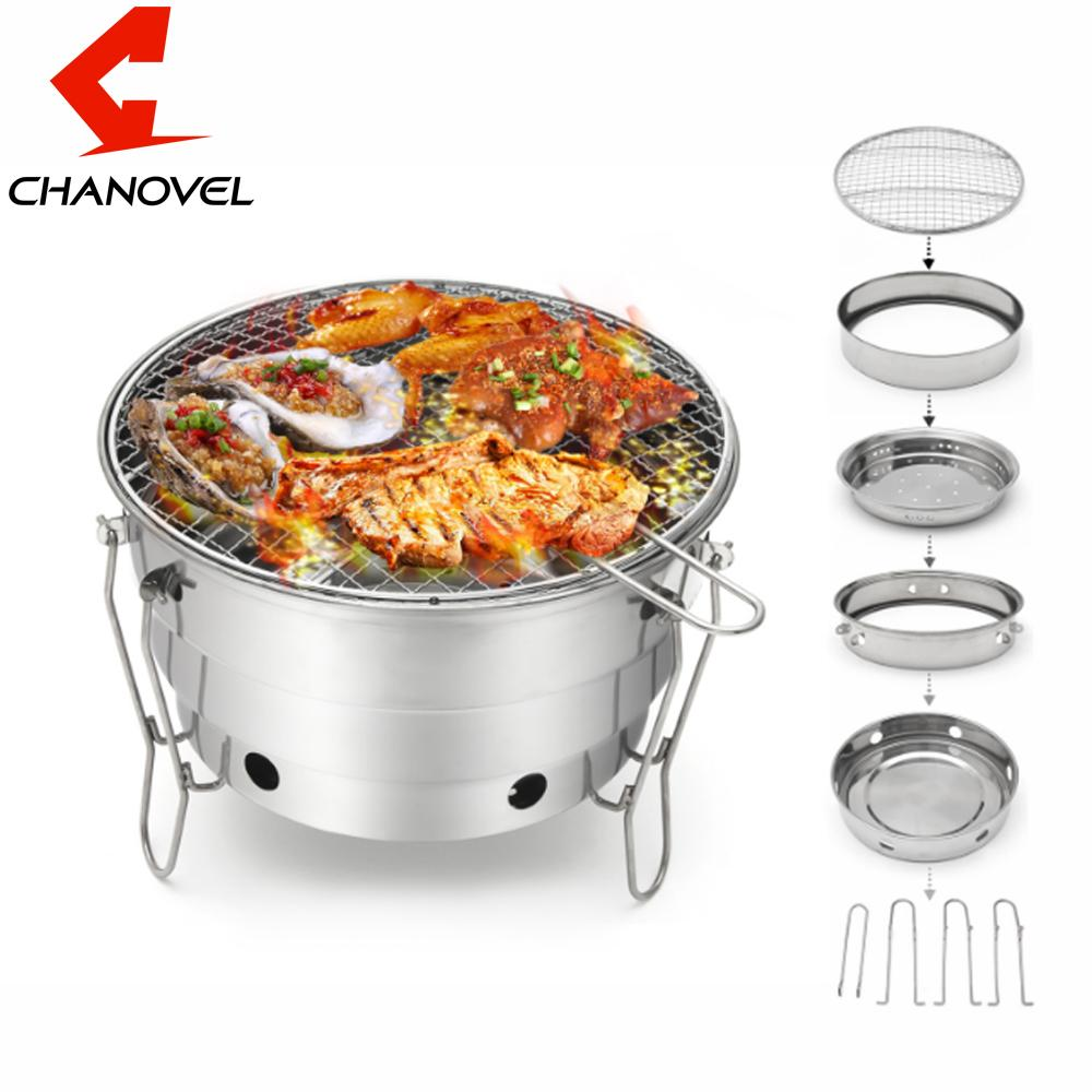 43362d4b4a1 2019 CHANOVEL Foldable Portable Barbecue Charcoal BBQ Grill Stainless Steel  Cooking Outdoor Camping Burner Patio Stove Family Party From Herbertw