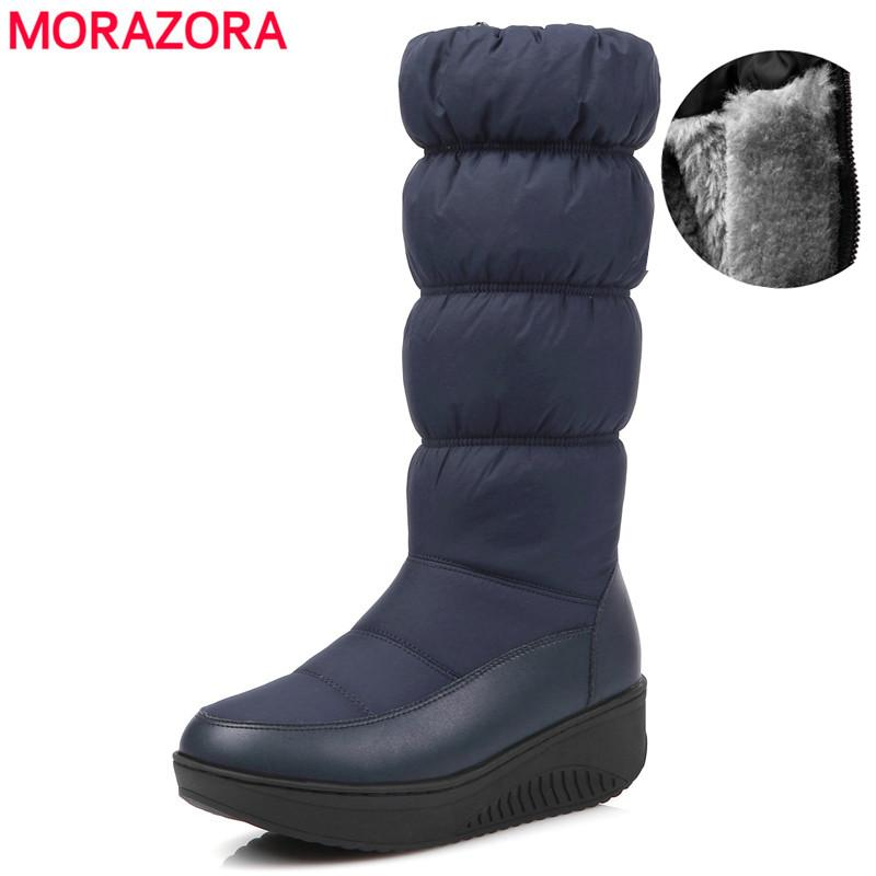 HOT Russia 2019 New fashion snow boots women waterproof mid calf boots female platform winter warm ladies shoes botas