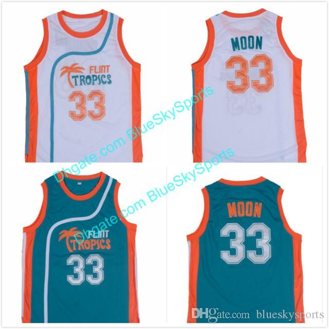 ... norway 2018 mens 33 jackie moon jersey flint tropics semi pro movie  basketball jerseys white green 9aad19807