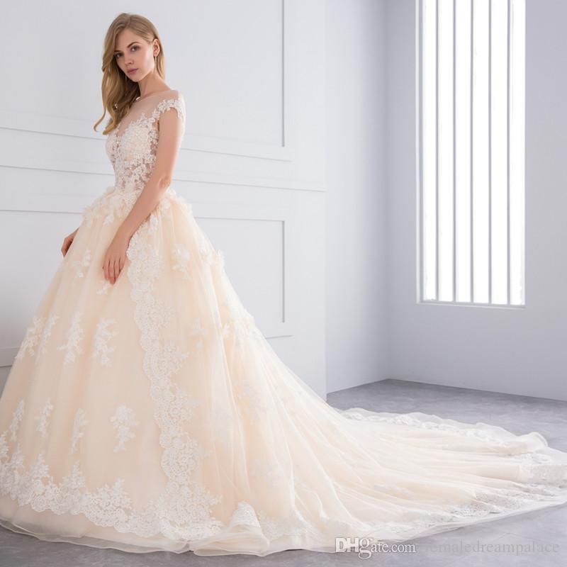 compre 2018 vestidos de boda del cordón de la carne rosada de lujo