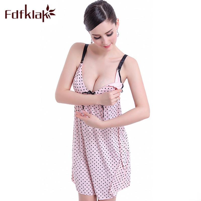 2018 Fdfklak Summer Spaghetti Strap Feeding Nursing Nightgowns ...