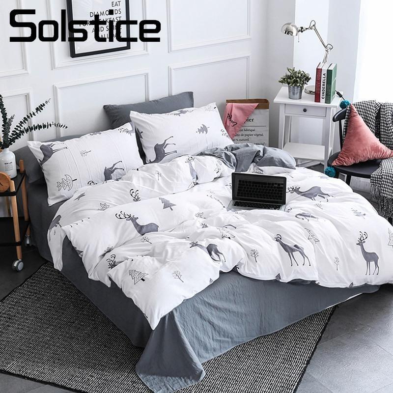 Solstice Home Textile Nordic Reindeer Bedding White Duvet Cover Set Sheet  Pillowcase Girl Kid Teen Boys Bed Linen Christmas Tree Cheap Full Size  Comforter ...