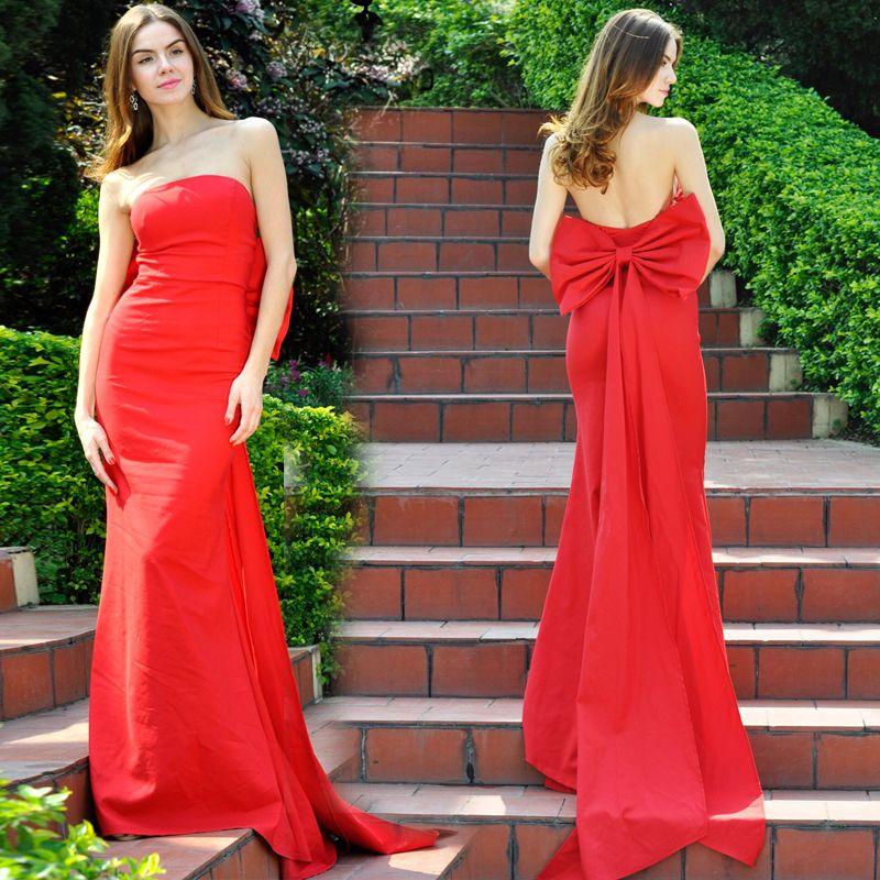 Red Mermaid Strapless Prom Dresses Soft Satin Long Evening Dresses ...