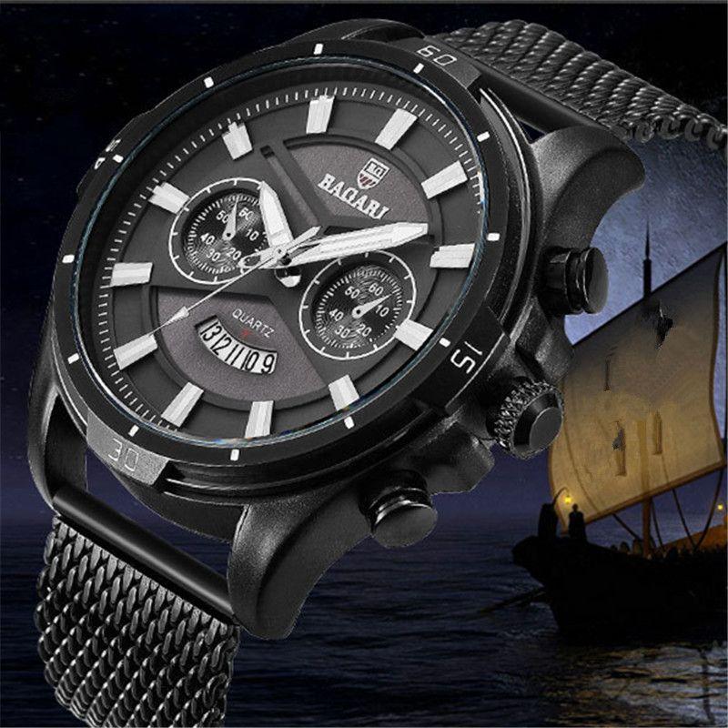 7b2552175b59 Compre Relojes Para Hombre BAGARI Marca Deportiva Hombre Relojes De Cuarzo  De Acero Inoxidable Correa De Malla Impermeable Calendario Relojes De Hombre  Azul ...