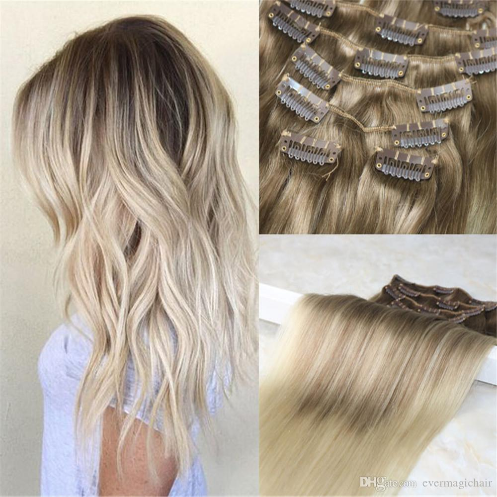 120gram Human Hair Ombre Balayage Clip In Extensions Color 8 Fading
