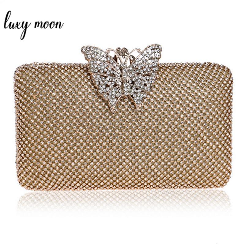 Luxury Diamond Gold Color Evening Bags Clutch
