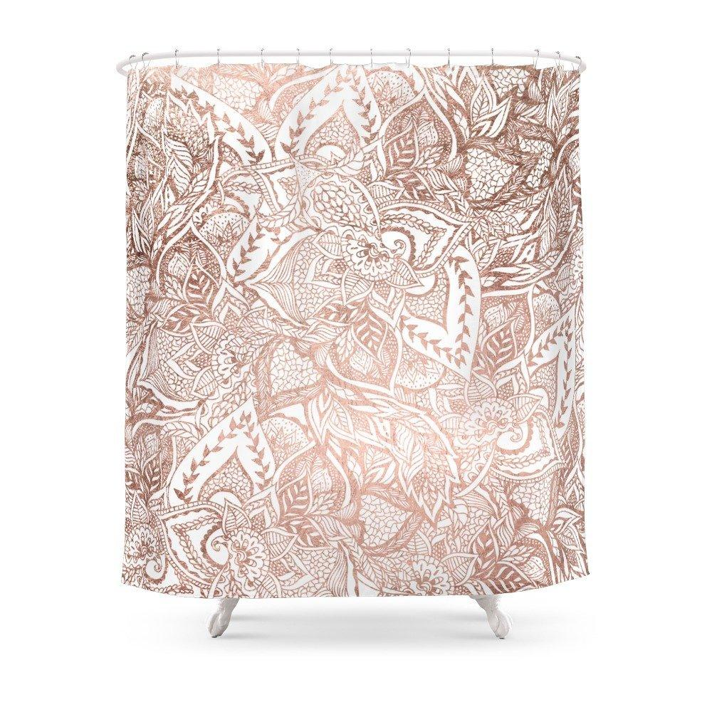 2019 Rose Gold Floral Mandala Pattern Shower Curtain Waterproof