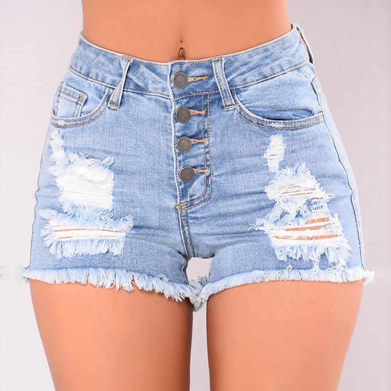 Compre Pantalones Vaqueros Rotos Para Mujer Boyfriend Jeans Estilo Casual Pantalones  Cortos De Cintura Hgih Pantalones De Mezclilla Algodón Fresco Elegante ... e8f8998077b5
