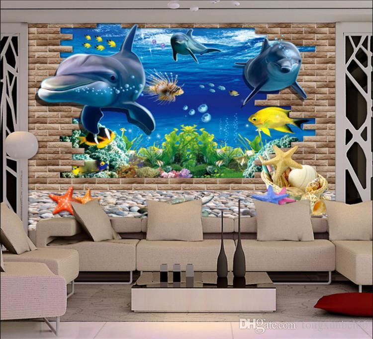 3D Blue Ocean Wall Kid Baby Bedroom DIY Mural Wall Sticker Decoration Lamp TV backdrop wallpaper
