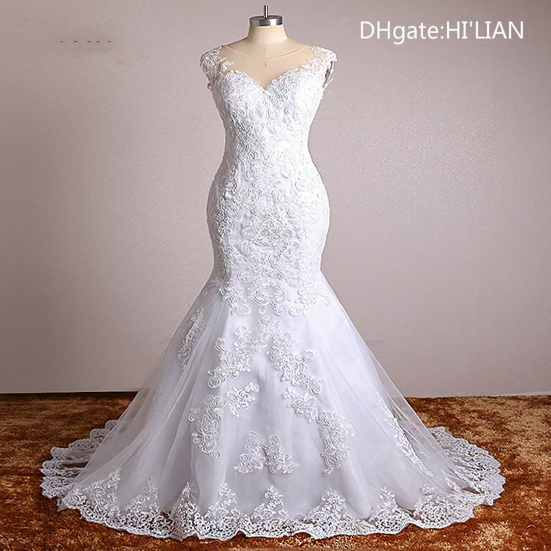 White Ivory Real Photo Lace Appliques Mermaid Vintage Wedding ...