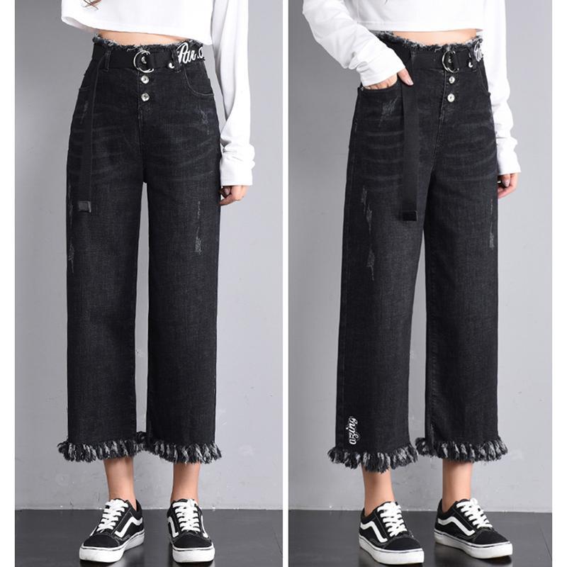f275219f7034 Acquista Jeans Diritti Delle Donne Jeans Neri Larghi Del Denim Pantaloni  Alla Caviglia Femminili Con La Cinghia Vita Alta Retro Alta Strada Alta  Autunno A ...