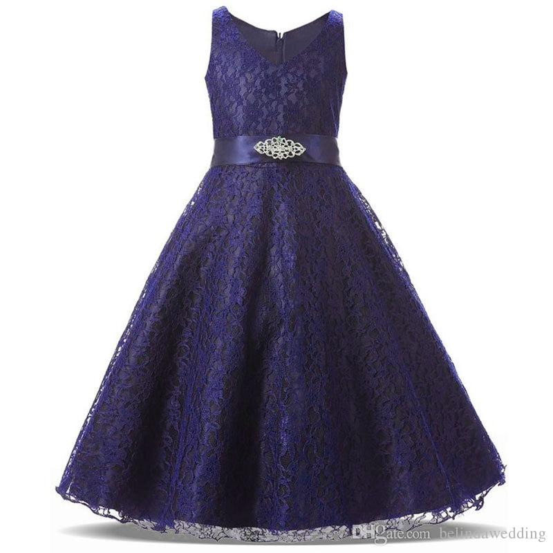 Navy Blue Cheap Flower Girl Dresses 2018 Beaded Lace Appliqued ...