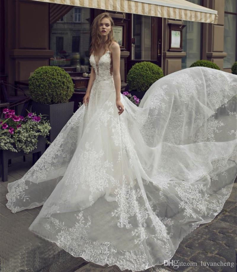 Gorgeous Deep V-neck Long Bride Wedding Dresses Lace Appliques Sexy Backless Spaghetti Wedding Gowns 2 Meters Chapel Train Dress Custom Made