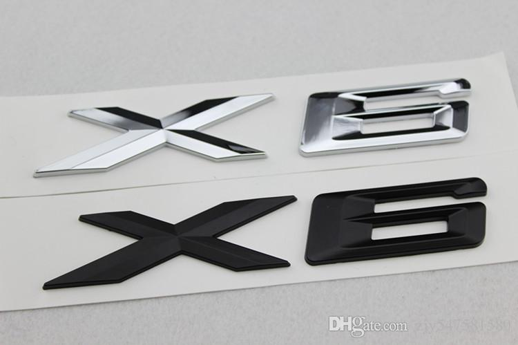 High Quality New Car Styling 3D Chrome Silver and Black X1 X3 X5 X6 GT Letters Emblem Rear Trunk Boot Badge Logo Sticker For BMW