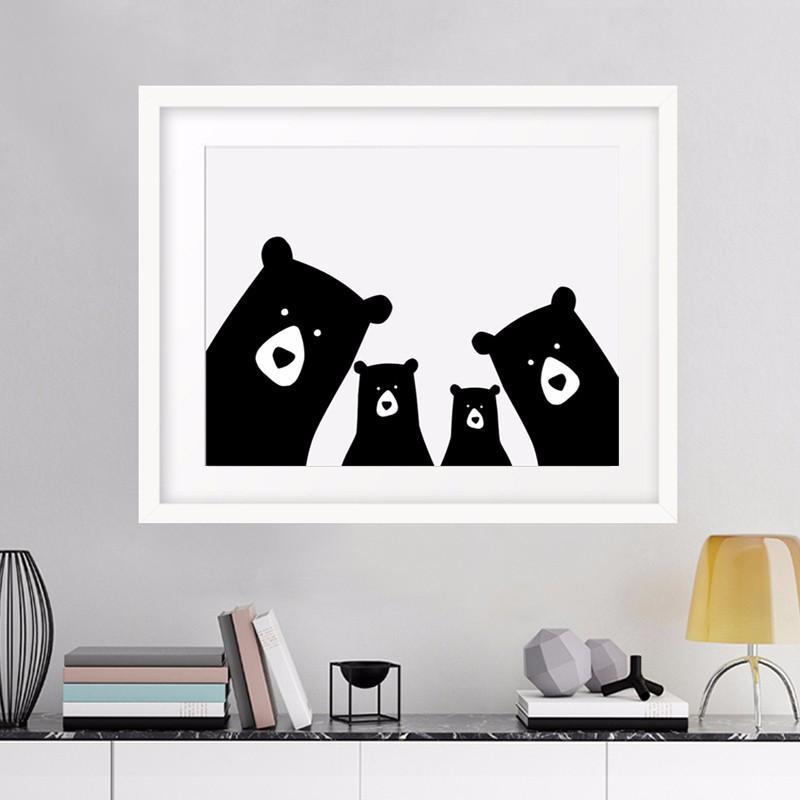 Großhandel Bär Familie Animal Print Wand Bild Leinwand Kunst Poster ...