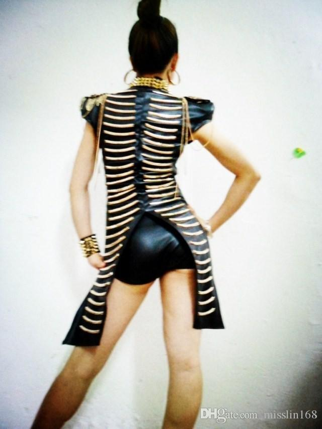 Cadeia de couro preto bodysuit sexy atmosférico DJ cantor DS trajes roupas de dança garfo borla boate Jazz bar show party