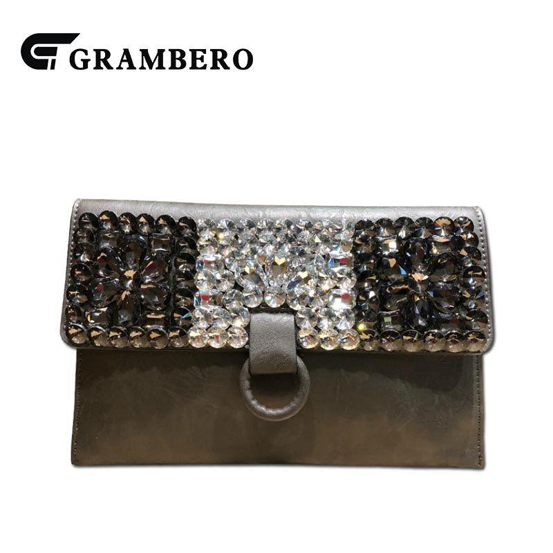 461e222a1 Compre Estilo Coreano Diamantes Bolsa Da Embreagem PU Envelope De Couro  Capa Grande Carteira Das Mulheres Do Vintage Ombro Saco Crossbody Sacos Do  ...