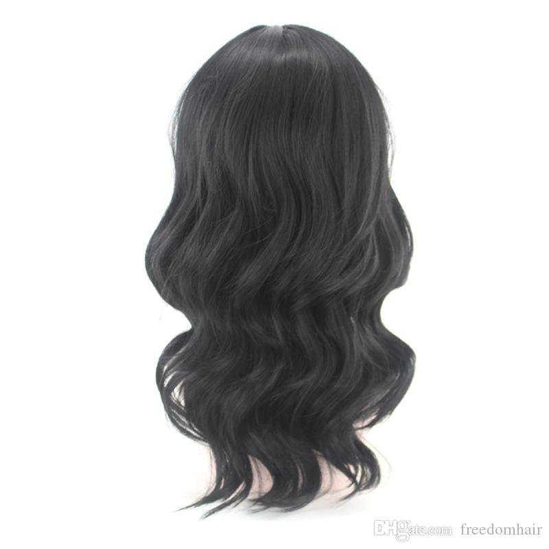 Top Quality Synthetic Wig For African American Medium-length Natural Black Korean Heat Resistant Fiber Made Fashion Wig For Black Women