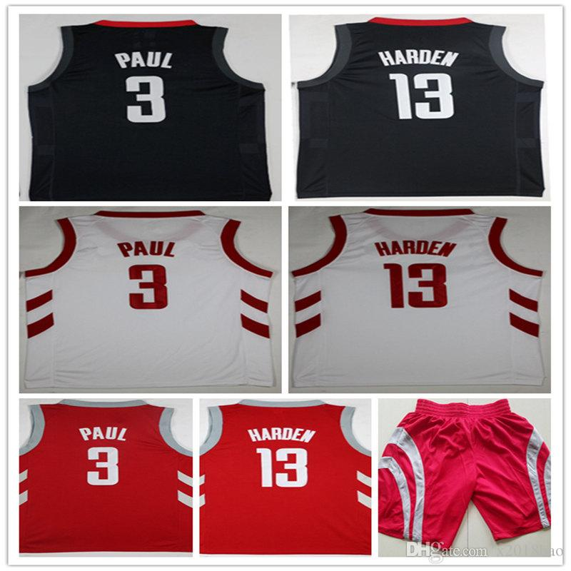 0ccd44d81 2018 High Quality 2018 New Mens 3 chris Paul Shirt 13  James Harden Jerseys  New Material Harden Red White Embroidery Basketball Jersey Ball Pants From  ...