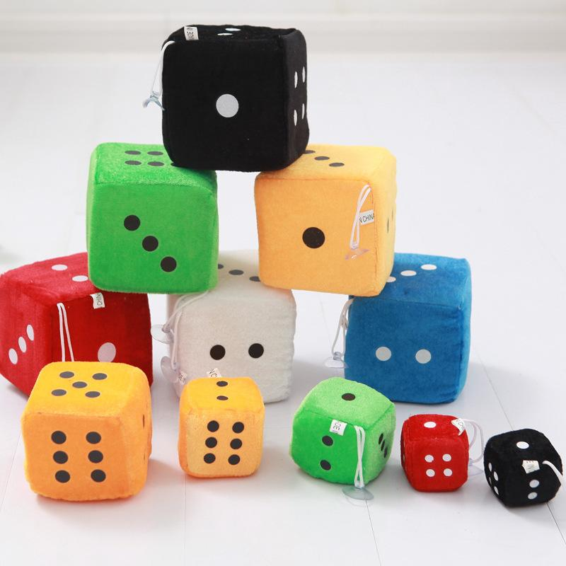 4*4cm Plush Dice Cloth Doll Pillow Pendant Children Games Props Toys Gift Kids Key Clip Stuffed Chuck Pendant 6colors AAA1208