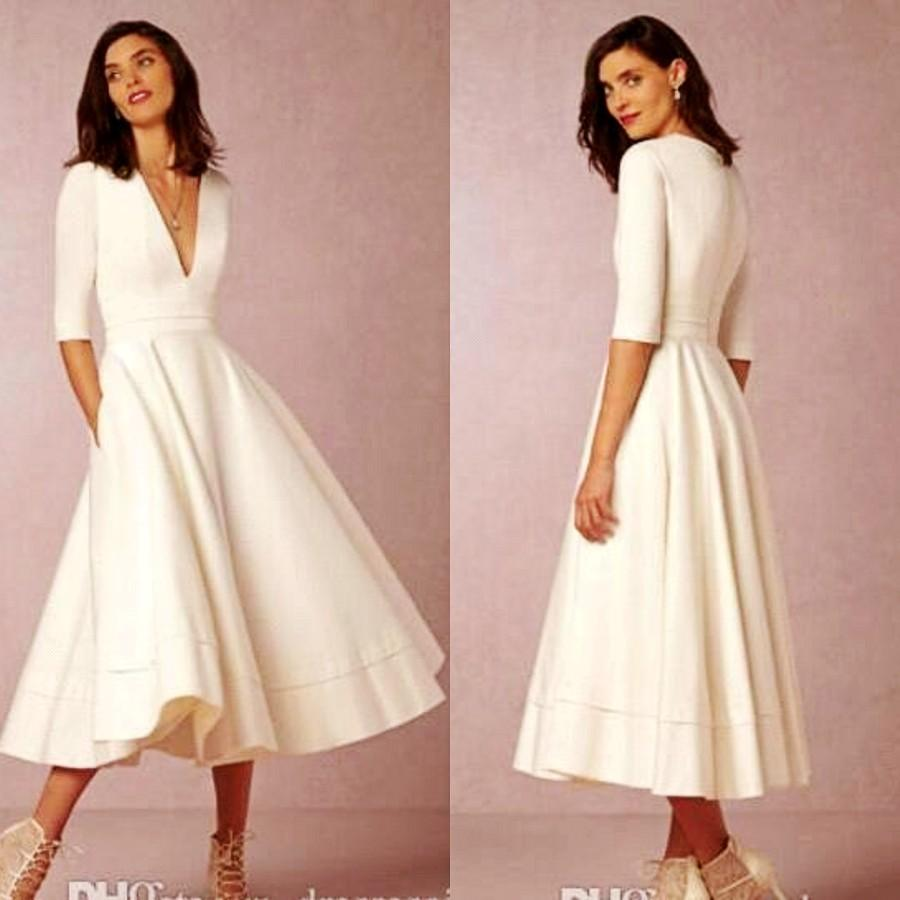 2018 Modest Satin Cocktail Party Dresses Sexy V Neck Tea Length Evening  Gowns Elegant Long Sleeves Special Occasion Gowns Little White Dress Red  Cocktail ... a8874e1db286