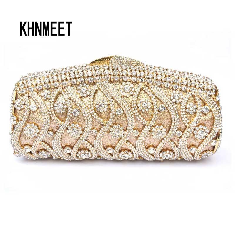 f45230cb75e1 Golden Luxury Crystal Evening Bag Women Prom Clutch Bag Party Pochette Women  Diamante Clutches Wedding Handbags Day Clutch SC111 Leather Bags Shoulder  Bags ...