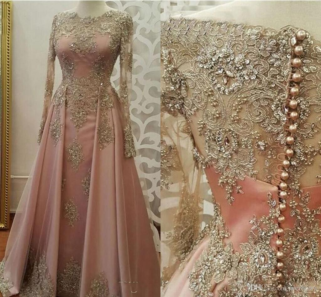 cc51f83235 New Pink Evening Dresses for Women Wear Jewel Neck Long Sleeves Lace  Appliques Crystal Bling Beaded Plus Size Prom Dresses Party Gowns HY123