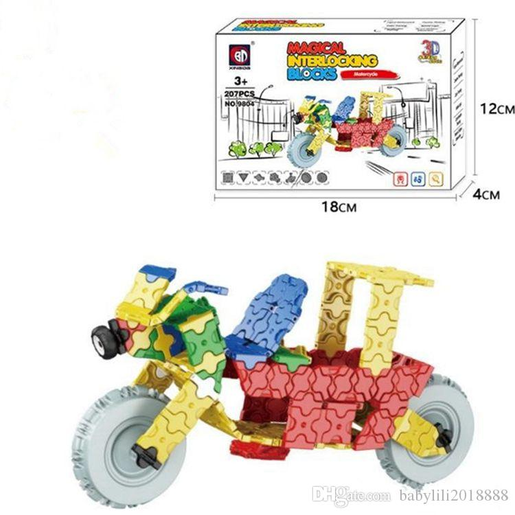 wholesales XBD ABS Magical Interlocking Blocks Moterbike Plane Vehicle set Creater Carnival Sets Puzzle blocks Christmas Gifts