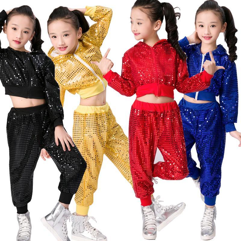 39b4e5fed3d60 Compre Trajes De Ropa De Baile De Hip Hop Para Niños Chicas Niños Jazz  Moderno Bailando Trajes Fiesta En El Salón Baile Con Lentejuelas Sudadera  Con Capucha ...