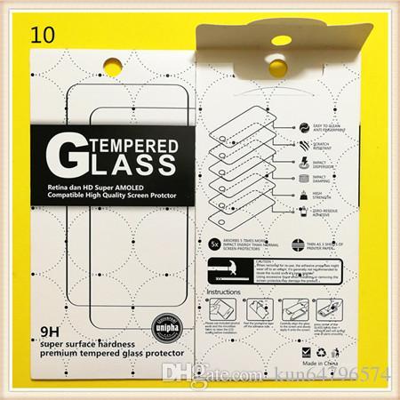 Paquete de venta al por menor vacío Cajas de papel cada caja barata Empaque para el protector de pantalla Premium Glass 9H de Sony Templado Samsung iPhone Samsung