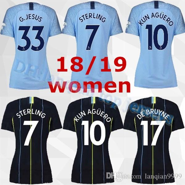competitive price 5f416 f5860 Women Manchester City Soccer Jersey Lady Champions JESUS KOMPANY KUN AGUERO  DE BRUYNE SILVA Woman Football Shirt Kits Custom Name Number