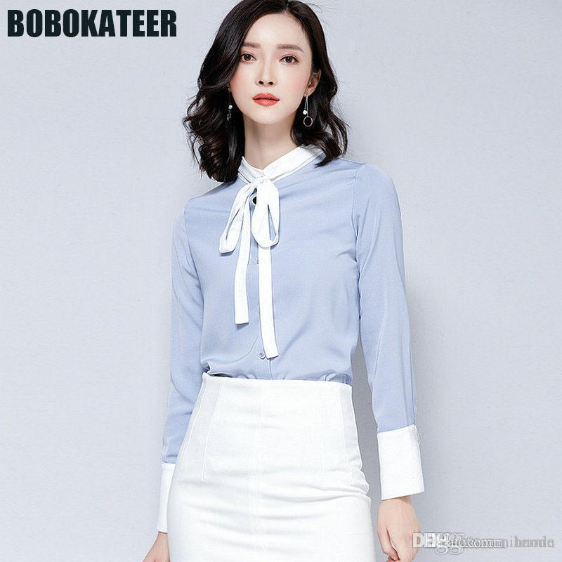 85f3c3e3c10 2019 BOBOKATEER Women Chiffon Blouse Office Shirt Ladies Long Sleeve Formal  Blouses Womens Tops And Blouses Chemise Haut Femme 2018 From Nihaode