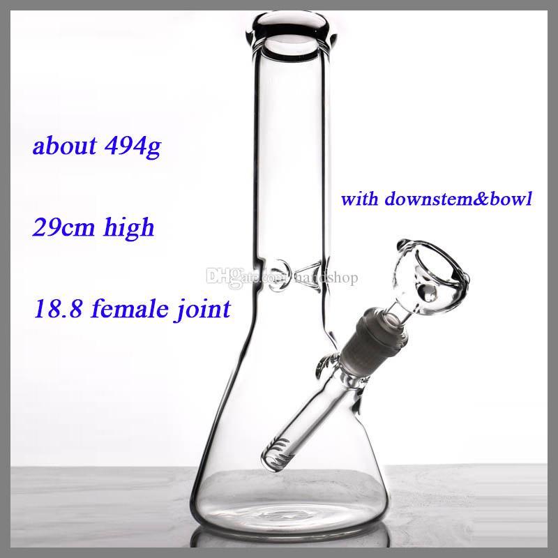 Bécher verre bongs collecteur de glace simple épaisseur tuyaux d'eau pour fumer avec downstem et bol 11 '' bong