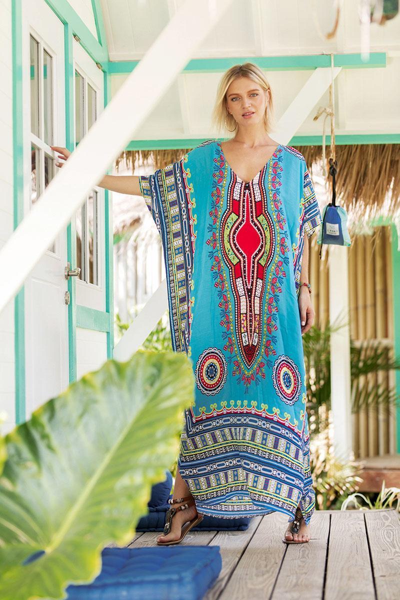 b1f4a23eaff 2018 Women Maxi Dress Summer New Casual Sexy African Print Dashiki Dress  Robe Bohemia Beach Long Dress Maxi Dress Beach Dress Summer Dress Online  with ...