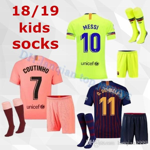 best service a3de0 1aded Barcelona 2018 MESSI SUAREZ Kids Jersey soccer 2019 Camisas Blue Dembele  Messi INIESTA home football shirt 18 19 kids Kit