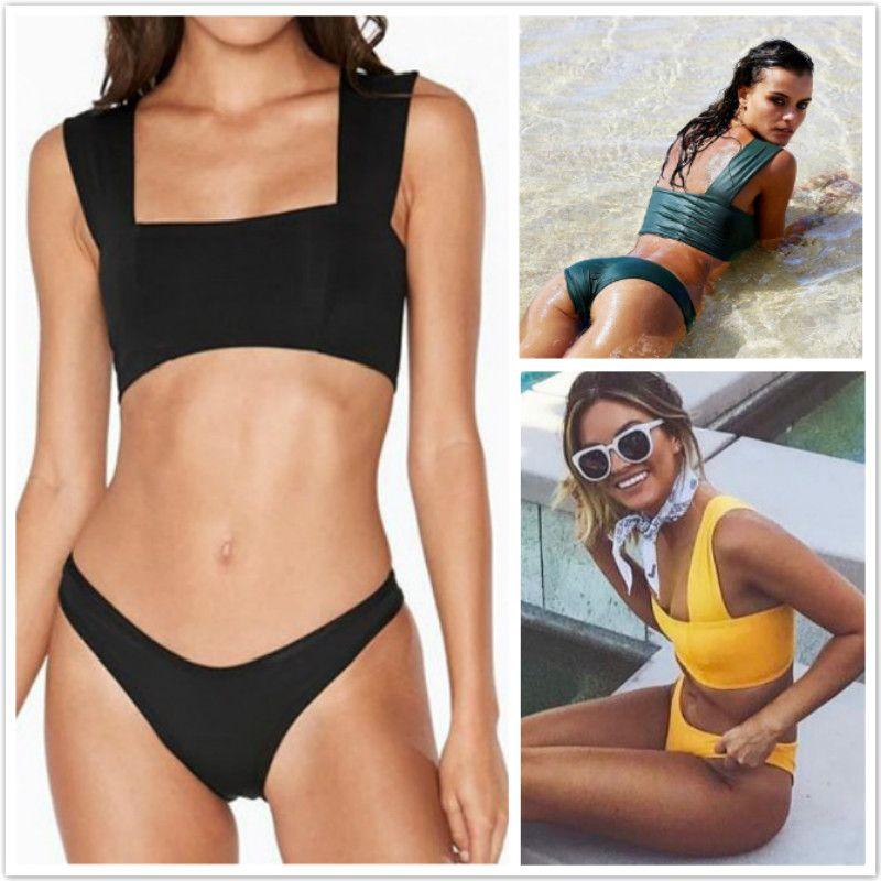 e5bb510e2e92 Women Fashion Bikini Set Push Up Bikinis Padded Halter Bikini Black ...