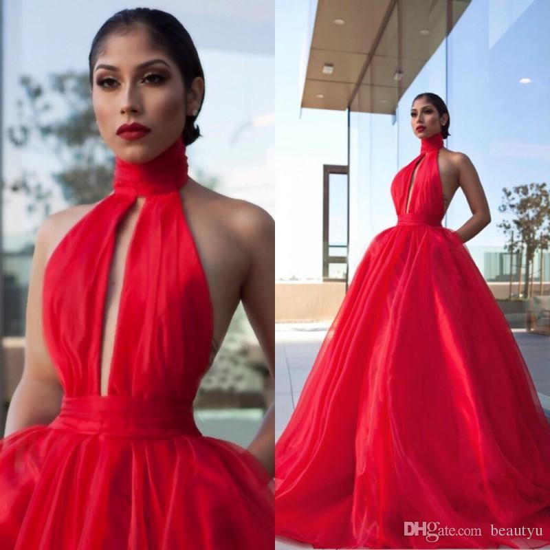 Großhandel Red Ballkleid Prom Kleider 2018 Arabisch Modern Sexy ...