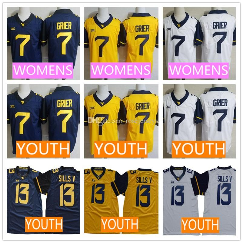 d272a567822 2019 WVU Youth #7 Will Grier Jerseys 13 David Sills V Kid Jersey Gold  Yellow White Navy Blue NCAA College Football West Virginia Mountaineers  From ...